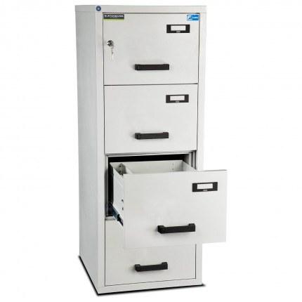 Burton 4 Dr Key Locking Fire Filing Cabinet FF400K MKII 60 mins - drawer open