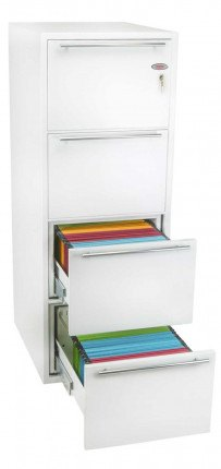 Phoenix Archivo Fire File FS2234K 4-Dr Key Lock Filing Cabinet drawers open