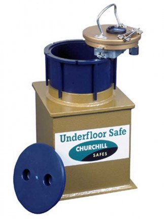 Underfloor Safe with Screw Fit Lid - Gold Enamel Paint with Churchill Logo.