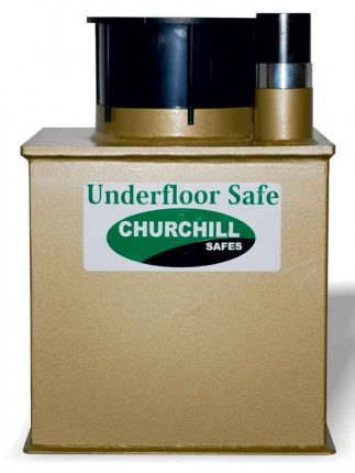 Churchill Vector V4D Deposit Floor Safe showing neck, deposit tube and side profile