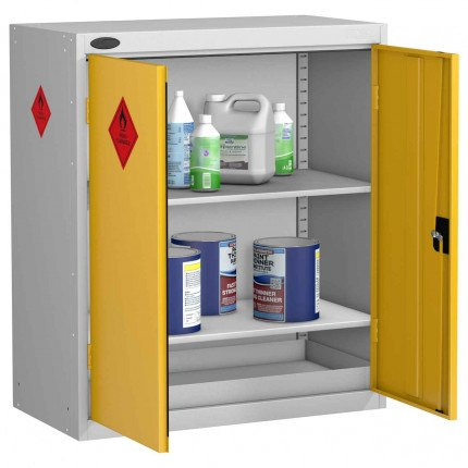 Probe HAZ-C Hazardous Low Double Door Steel Cabinet - doors open