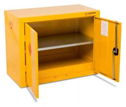 Armorgard Safestor HFC1 Flammable 2 Door Low Cupboard - open