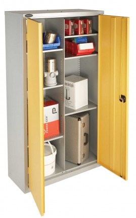 Probe HAZ-B 8 Compartment Flammable Hazardous Cabinet open showing the 8 compartments