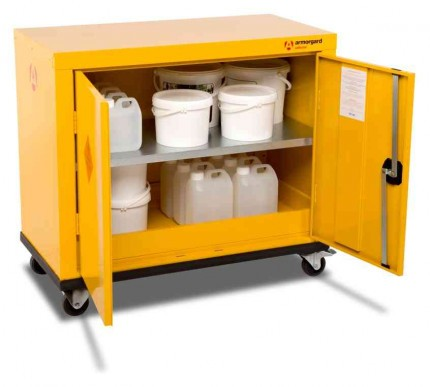 Armorgard Safestor HMC1 2 Door Mobile Flammable Cupboard - in use
