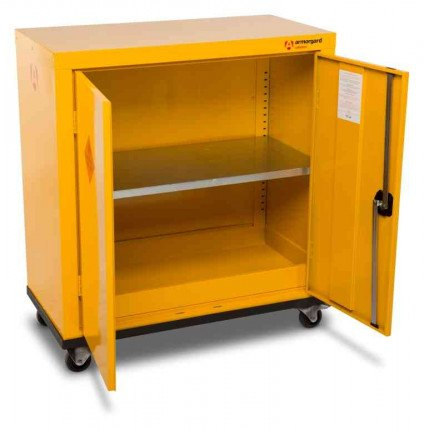 Armorgard Safestor HMC2 2 Door Mobile Flammable Cupboard - doors open