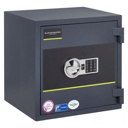 Burton Home Safe Size 3E in Graphite with a Digital Lock, shown closed