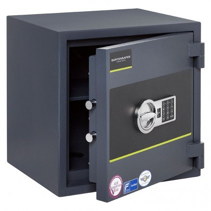 Burton Home Safe Size 3E in Graphite with a Digital Lock, shown slightly open