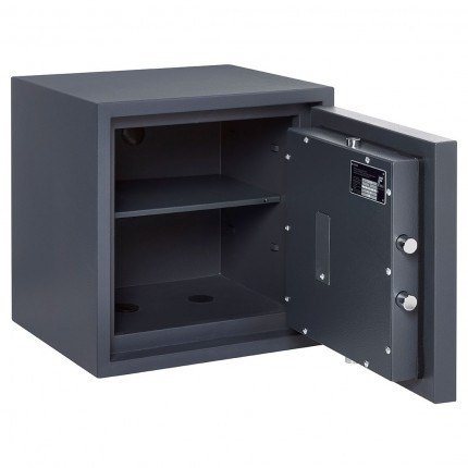 Burton Home Safe Size 3E in Graphite with a Digital Lock, with the door wide open showing the interior of the safe and one shelf