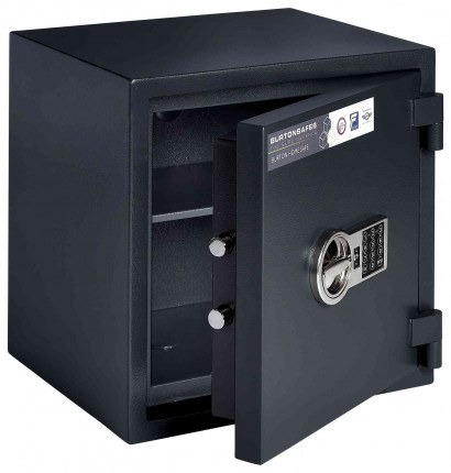 Burton Home Safe 3E Eurograde 0 £6,000 Rated Fire Security Safe - door ajar