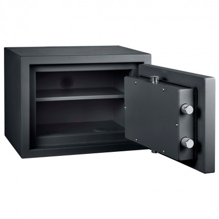 Burton Home Safe Size 1E in Graphite with a Digital Lock, with the door wide open showing the interior of the safe and one shelf