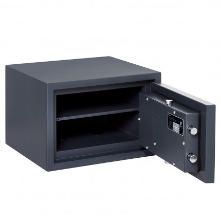 Burton Home Safe Size 2 in Graphite with a Digital Lock, with the door wide open showing the interior of the safe and one shelf
