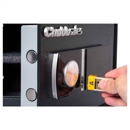 Chubbsafes HomeStar 54E showing emergency access using external battery