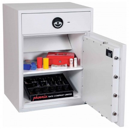 Police Approved £10,000 Cash Deposit Safe - Phoenix Diamond HS1192ED Electronic - Main door Open