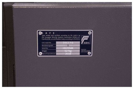 Phoenix Mercury HS2054K Eurograde 2 High Security Safe - Eurograde 2 Certification plate