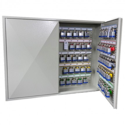 Phoenix KC0503M slightly open inside cabinet is an adjustable hook bars, key tags, key rings, and removable control indexes