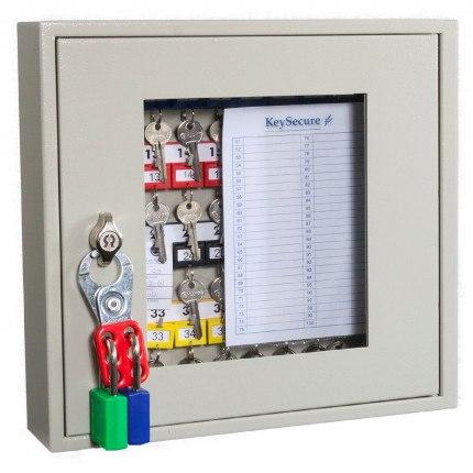 KeySecure KS40V Key View Window Cabinet 40 Keys - Padlock Hasp Lock