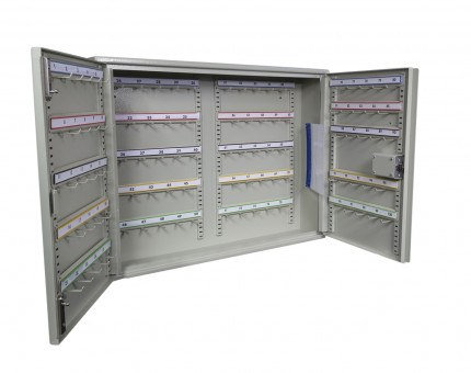 100 Hook Deep Security Car Key and Vehicle Transponder Storage Cabinet Euro Lock 100 Hooks - Key Secure KSE100P - open and empty