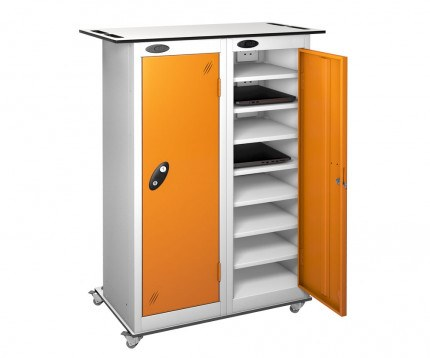 Probe TABBOX 16 Shelf Trolley in orange (This shows inside of the charging version)