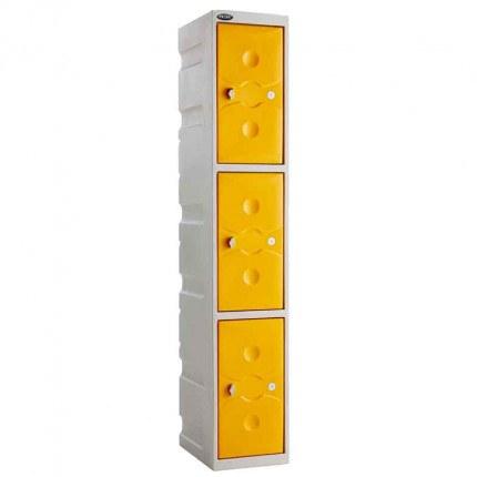be UltraBox 3 Door Plastic Locker yellow