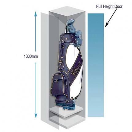 Probe Golf Bag Storage Locker | Key Locking with dimensions