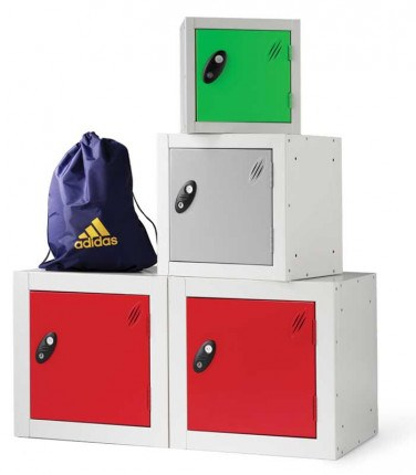 Probe Modular Cube Lockers can be bolted together and door colours mixed if required