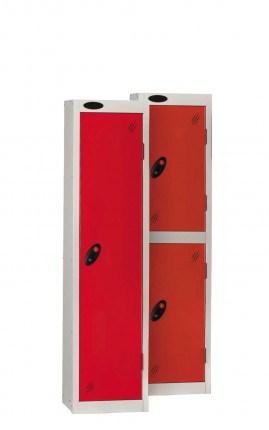 Probe 2 Door Low Locker 1210mm high red doors and silver body