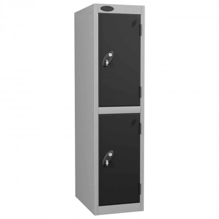 Probe Low Height 2 Door Steel Key Locking Storage Locker black doors and silver body