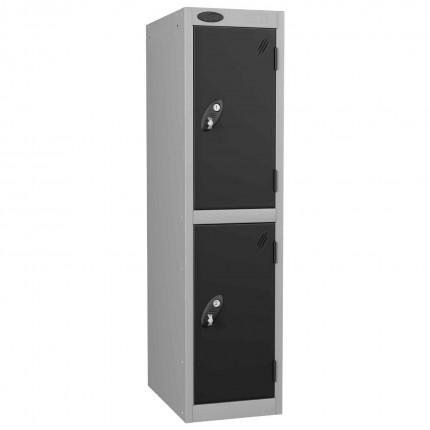 Probe Low 2 Door Steel Locker with Padlock Latch Hasp Lock - black