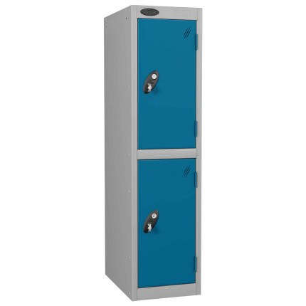 Probe 2 Door Low Locker 1210mm high blue doors and silver body
