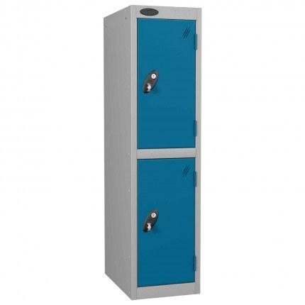 Probe Low Height 2 Door Steel Key Locking Storage Locker blue doors and silver body