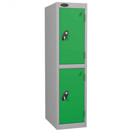 Probe Low Height 2 Door Steel Key Locking Storage Locker green doors and silver body