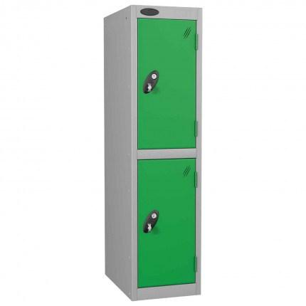 Probe Low 2 Door Steel Locker with Padlock Latch Hasp Lock green