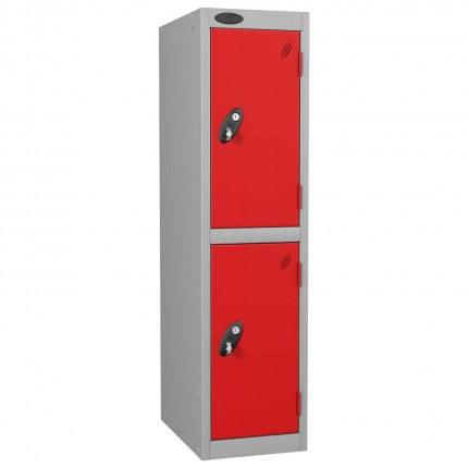 Probe Low Height 2 Door Steel Key Locking Storage Locker red doors and silver body