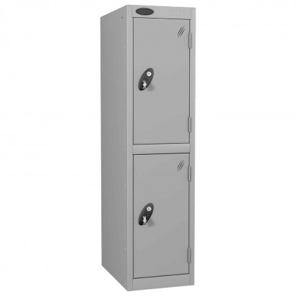 Probe Low Height 2 Door Steel Key Locking Storage Locker silver grey doors and silver body