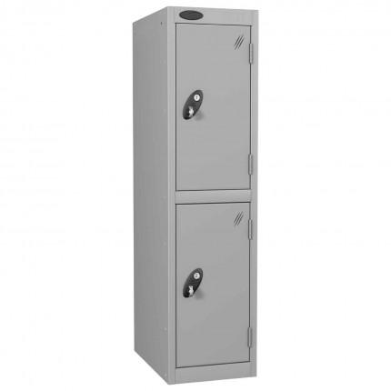 Probe Low 2 Door Steel Locker with Padlock Latch Hasp Lock silver grey