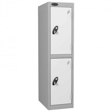 Probe Low Height 2 Door Steel Key Locking Storage Locker white doors and silver body