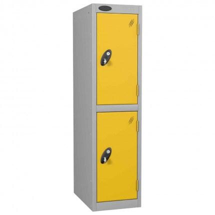 Probe Low 2 Door Steel Locker with Padlock Latch Hasp Lock yellow