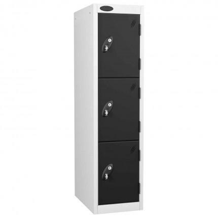 Probe 3 Door Medium Height Storage Locker Latch Hasp Lock - Black Doors