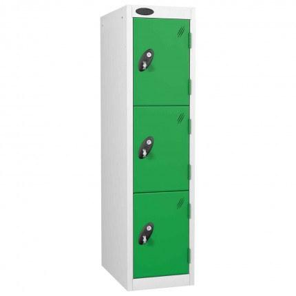 Probe 3 Door Medium Height Storage Locker Latch Hasp Lock - Green Doors