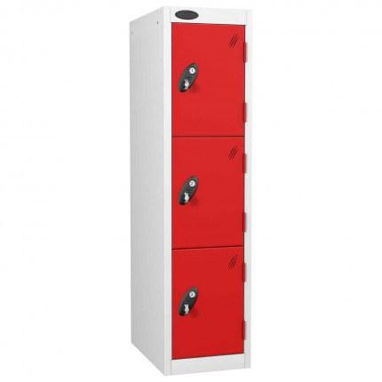 Probe 3 Door Medium Height Storage Locker Latch Hasp Lock - Red Doors