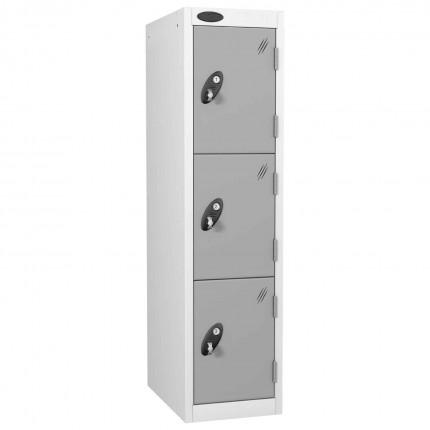 Probe 3 Door Medium Height Storage Locker Latch Hasp Lock - Silver Grey Doors