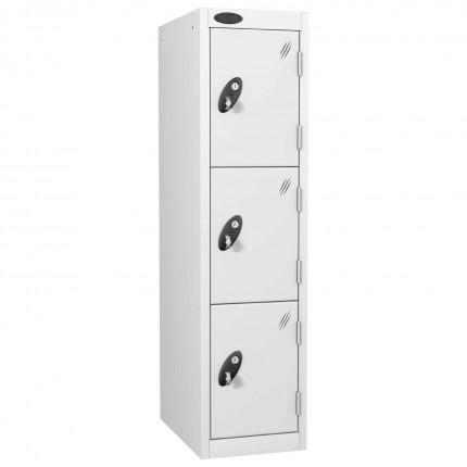 Probe 3 Door Medium Height Storage Locker Latch Hasp Lock - All White
