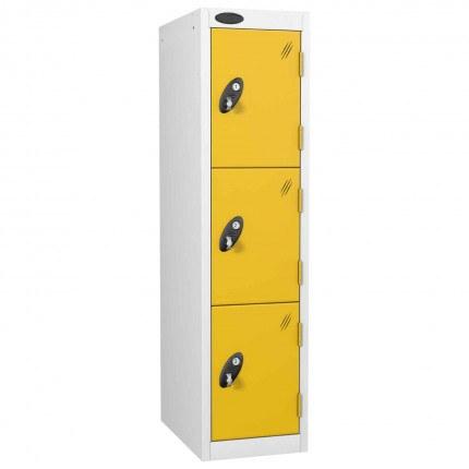 Probe 3 Door Medium Height Storage Locker Latch Hasp Lock - Yellow Doors