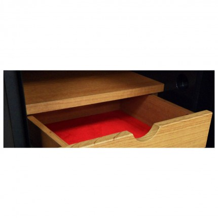 Wooden drawer fully open to show velvet interior to protect jewellery of the Phoenix Next LS7001FC
