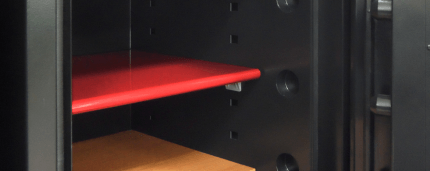 Red shelf from inside the Phoenix Next LS7001FC Luxury Safe