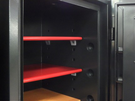 Red shelves from inside the Phoenix Next LS7002FC Luxury Safe