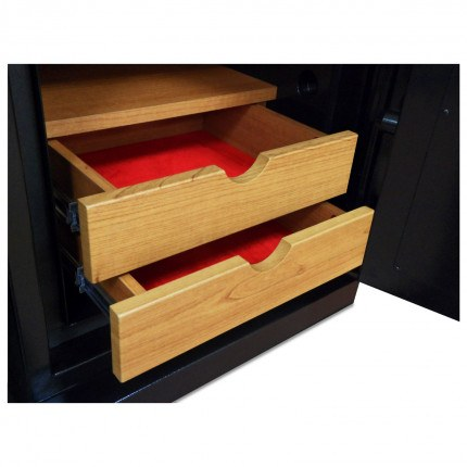 Wooden drawers fully open to show velvet interior to protect jewellery of the Phoenix Next LS7003FC