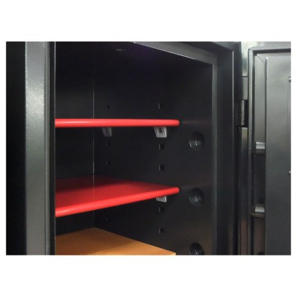 Red shelves from inside the Phoenix Next LS7003FC Luxury Safe