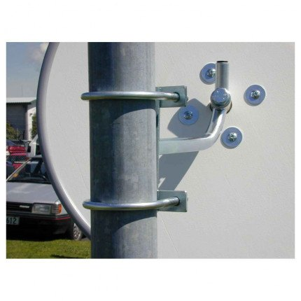 Outdoor Convex Mirror 450mm - Securikey Econovex  with close up of the Post Fixing Bracket