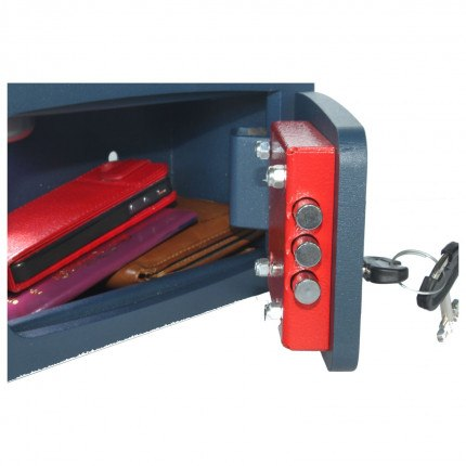 Technomax MB-0 Mini Security Wardrobe Safe - open with keys and contents, - zoom